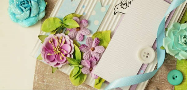 Scrap booking image with pink flowers