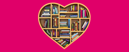 Pink background with a wooden heart shaped bookcase in the middle with books on