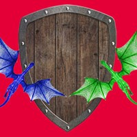 A red background with a  wooden shield with a blue dragon and green dragon.