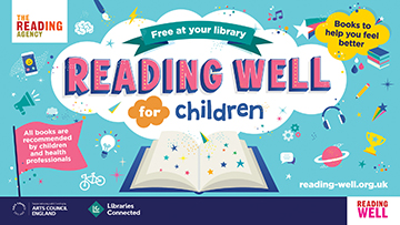 The words Free at you Library Reading Well for Children are in a white cloud in the centre. The space around it is turquoise with small images and further information about the booklist on