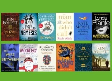 Twelve book covers of the books of the month on a green background