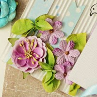Card, ribbons and paper flowers